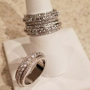 Jewelry - New SP White Topaz Band Size 7 & 8! 3 Available!